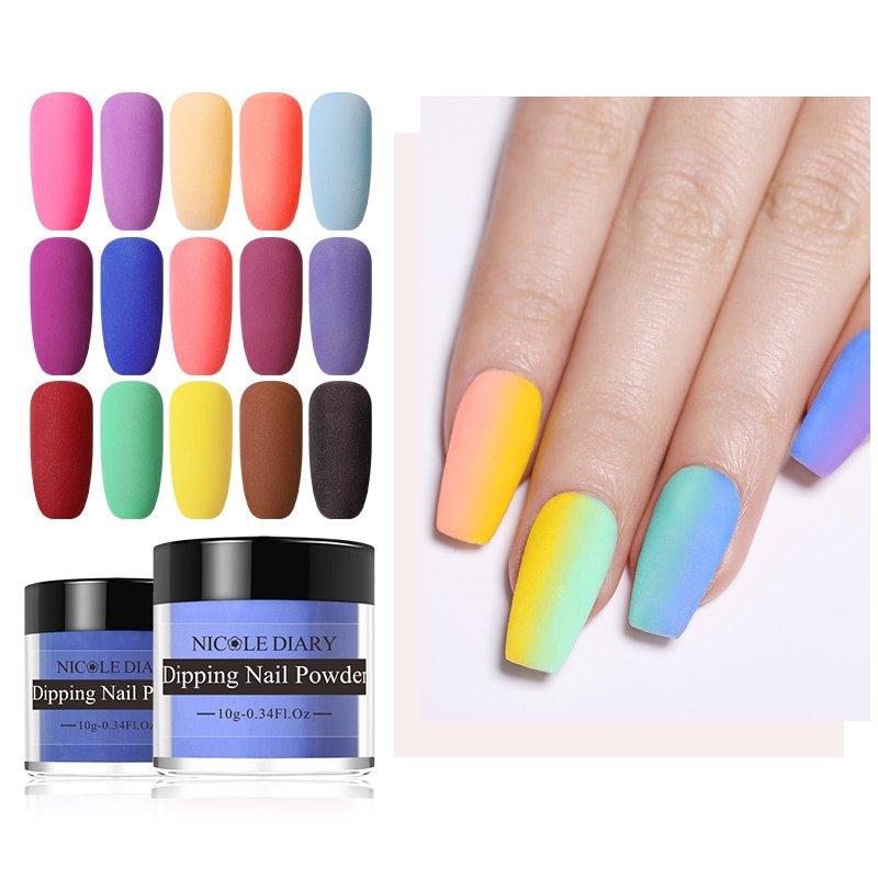10g Dipping Nail Powder Nails Glitter Matte Color Gradient Nail Art Powder Without Lamp Cure Nail Art Decorations Sanbro Store