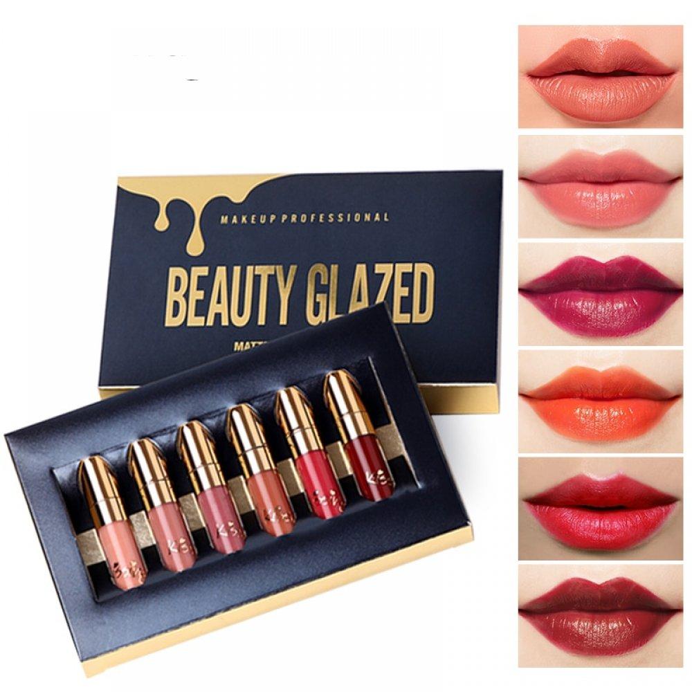 Matte Lipstick Set 6 Colors Nude Moisturizer Smooth