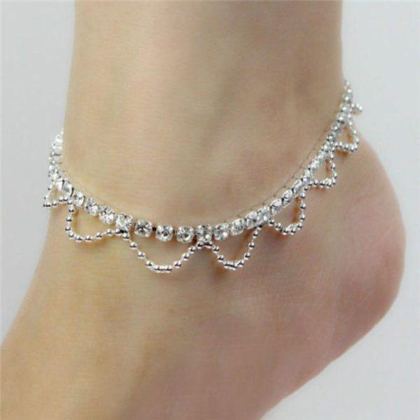 Vintage Rhinestone Diamante Choker pearl Chain tassel multilayer Necklace Anklet