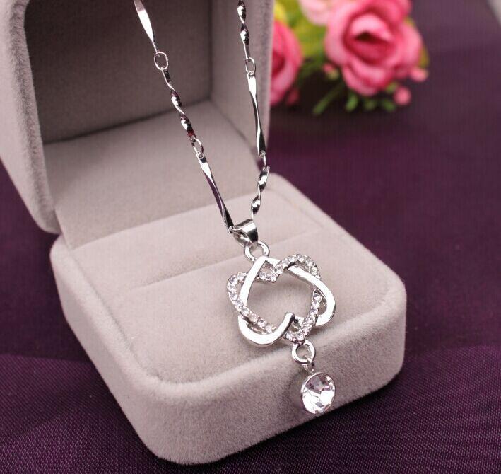 Necklace  Heart Rhinestone  Pendant  Sliver Chain Jewelry  Fashion Cross Chain