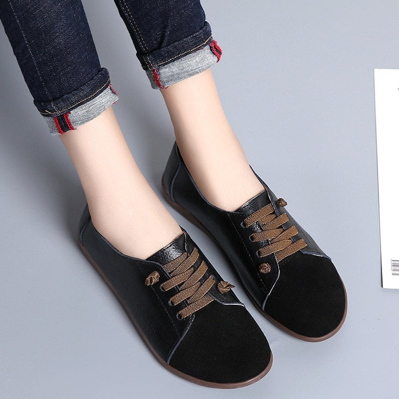 2020 Genuine Leather Flat Shoes Woman Hand-sewn Leather