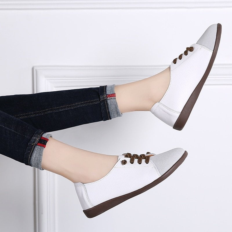 FEDONAS Fashion Women Genuine Leather Sneakers Flats